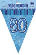 Blue Glitz '80th' Birthday Flag Banner
